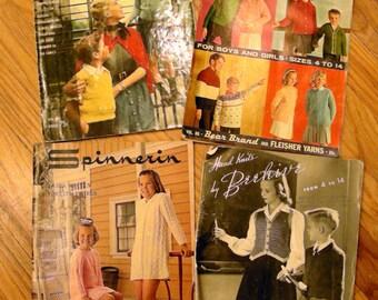 Vintage 1940s-1960s Children's Knitting Pattern Books - Set of 4