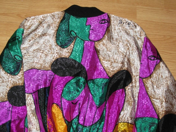 Vintage 1980s Avant Garde Picasso Silk Style Reflective Bomber Jacket