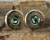 Bullet Earrings - Winchester 38 SPL Ultra Thin - Peridot - August Birthstone