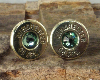 Bullet Earrings - Winchester 38 SPL Ultra Thin - Peridot - August Birthstone