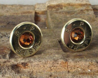 Bullet  Earrings - R-P 38 SPL - Ultra Thin - Topaz - November Birthstone