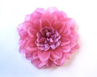 Pink Silk Hair Flower or Pin - Pink Dahlia Bridesmaid Accessory
