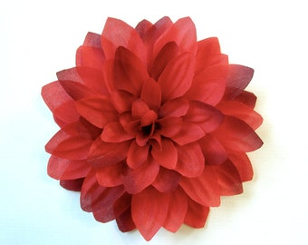 Rhubarb Fabric Flower Fascinator, Hair Clip, or Pin - Red Flower