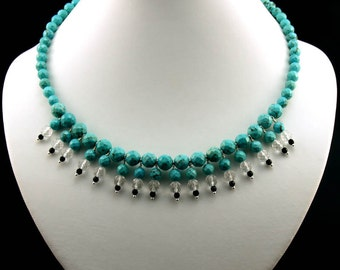 "Printology ""Finders Keepers"" Statement Necklace in Turquoise Howlite, Onyx, Quartz and Silver"