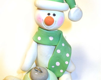 Christmas Ornament snowman in mint green sweater and hat, personalized, 2017 keepsake
