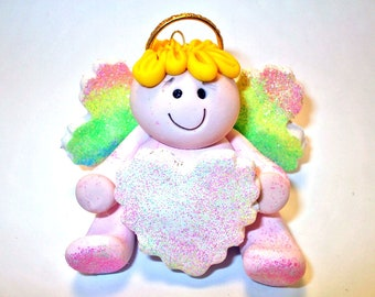 Polymer clay Christmas Ornament, Christmas angel with rainbow wings , personalized, 2017 keepsake, handmade gift, debbies clay babies