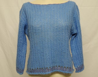 70s Vintage Cable Knit Sky Blue Wool Cropped Sweater size S-M