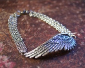 Angel Wing Bracelet -Silver Wing Pendant -GORGEOUS MULTI-STRAND Bracelet, Gift for Wife, Mother, Sister, Friend- by RevelleRoseJewelry