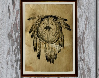 Native American print Antiqued paper Vintage art Old looking Antique style AK277