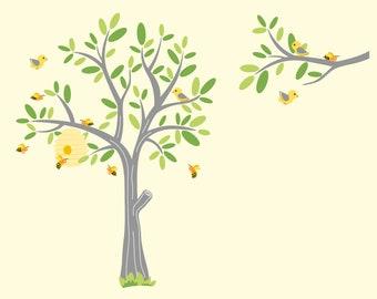 Tree decal- Nursery wall decal- Bee tree decal- Children tree- Vinyl tree decal