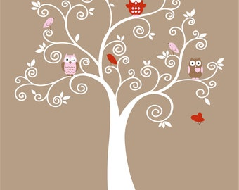 Cute Kids tree with 5 owls and birds vinyl wall decal cute for a nursery or childs room