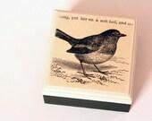 Robin Black Line Illustration - Square Wood Box