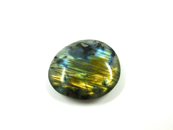 Labradorite Tumbled Stone For Wire Wrapping and Jewelry Making 46mm x 40mm (Lot No. 1151) Spectrolite Blue Green Gold