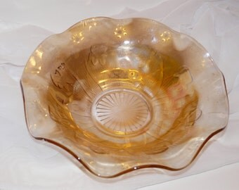 Iris and Herringbone Carnival Glass Bowl Jeannette Glass Company