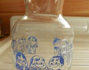 Blue Children General Foods Vintage Glass Carafe Vintage