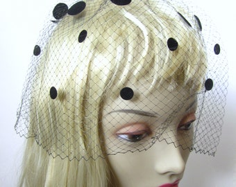 Vintage 1950s Classic Glamour Head Veil Hat New with Box Black blk polkadots Dots and Bows
