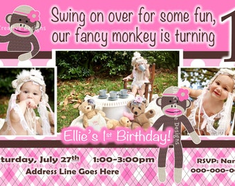Sock Monkey Girl Invitation  - Sock Monkey Girl Invite - 1st Birthday Party Invite - Sock Monkey Girl Birthday  - Sock Monkey Girl Party