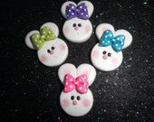 Polymer Clay Bunny-Bunny Bow Center/Pin/Magnet ( Price for each one )