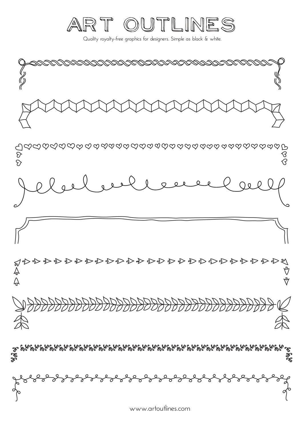 Set of Borders Art Outlines Full Page 9 Original Hand Drawn