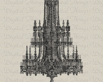 French Chandelier French Decor Wall Decor Art Printable Digital Download for Iron on Transfer Fabric Pillows Tea Towels DT527