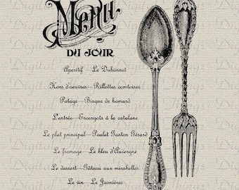 French Menu Wall Decor Sign Print Printable Digital Download for Iron on Transfer Fabric Pillows Tea Towels DT1237