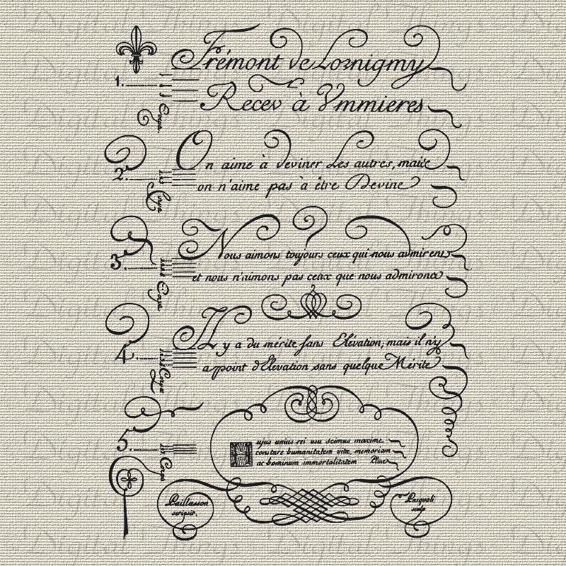 Vintage French Script Calligraphy Fleur De Lis French