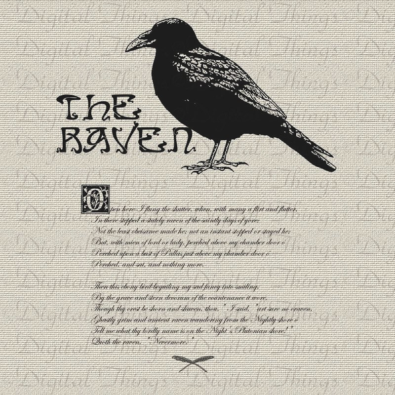 Halloween Edgar Allan Poe The Raven Bird Poem Wall Decor Art