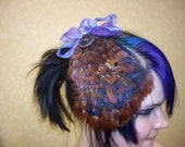 50% off sale! Copper/burgundy/purple/brown Pheasant FEATHER FASCINATOR with vintage buttons OOAK