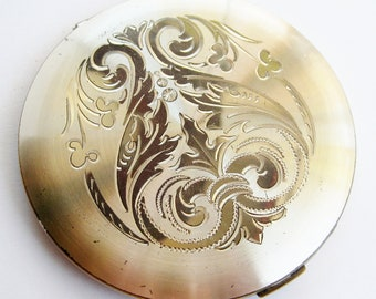 Vintage 30s 40s Wadsworth Engraved Silver Vanity Table Powder Compact