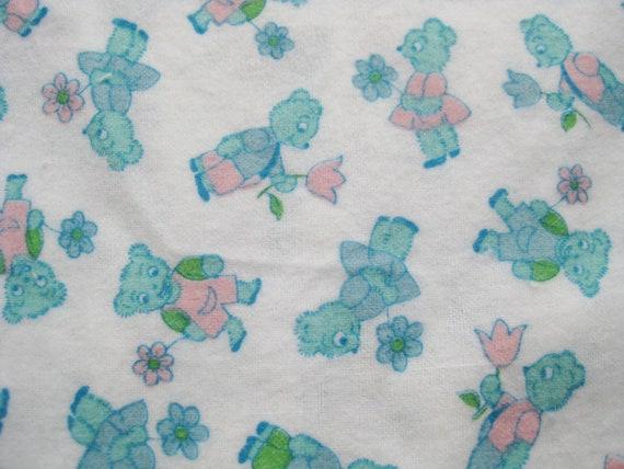 Vintage 50s cotton flannel fabric childrens novelty bear print for Vintage childrens fabric prints