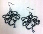 The Kracken Octopus and Black Pearl Earrings