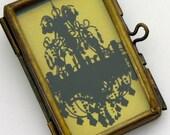 """Dark Romance Chandelier Glass Locket Necklace, Vintage Brass, 18"""""""