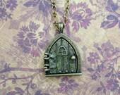 """Hobbit Hole Door and Fairy Wish Door Locket Necklace, 24"""""""