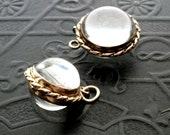 Antique Victorian Crystal Locket . Pool of Light . Rope Frame . Late Victorian Early Edwardian