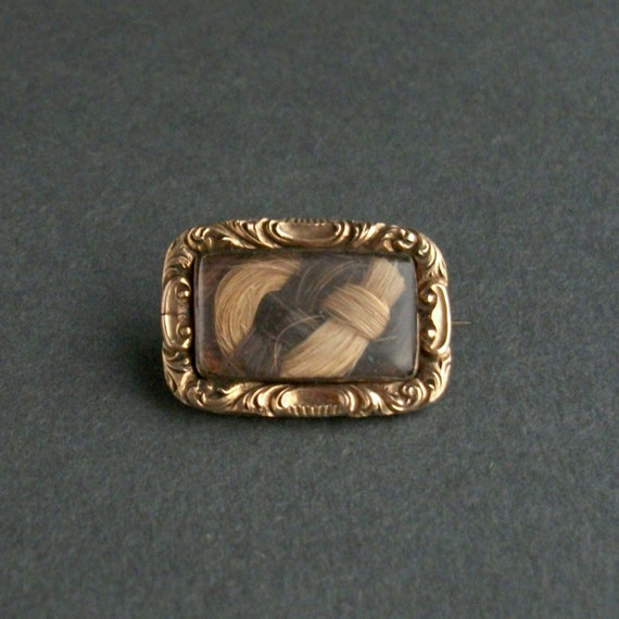 Victorian Mourning Hair Brooch. Ash Blonde & Chestnut. Two Tone Knot. Engraved.