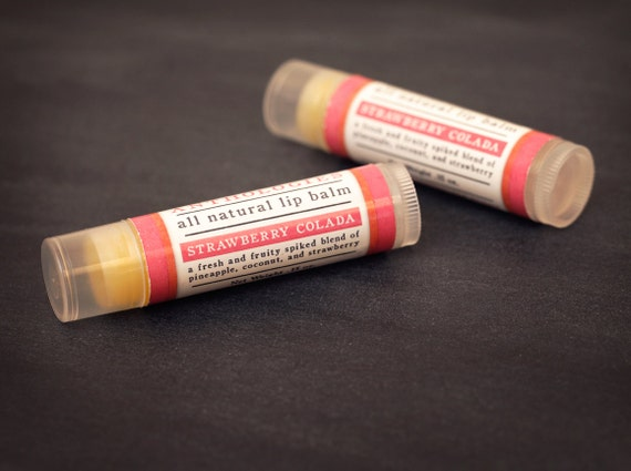 Strawberry Colada Lip Balm - All Natural - Sweet Pina Colada with Strawberry Flavor