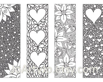 Valentine's Bookmarks to print and color, Zentangle Inspired Hearts and Flowers, Printable Coloring, Digital Download, Sheet 8