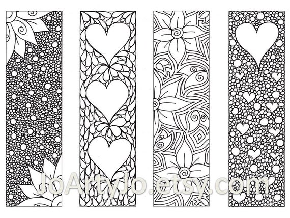 valentines bookmarks to print and color zentangle inspired hearts and flowers printable coloring digital download sheet 8