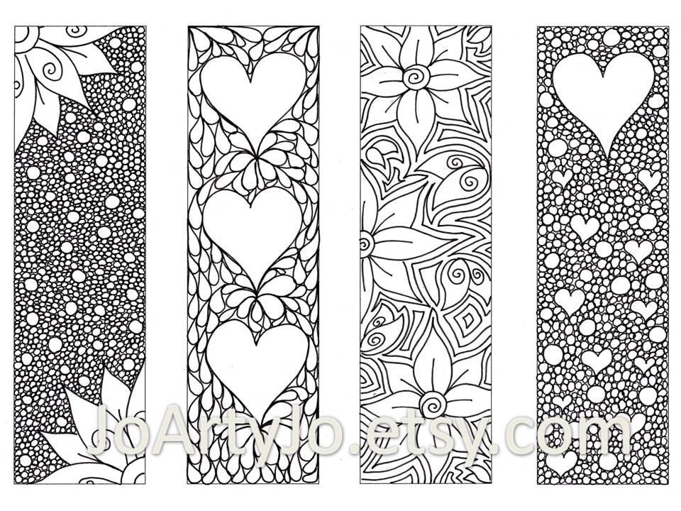 Printable Coloring Bookmarks Free : Valentine s bookmarks to print and color zentangle