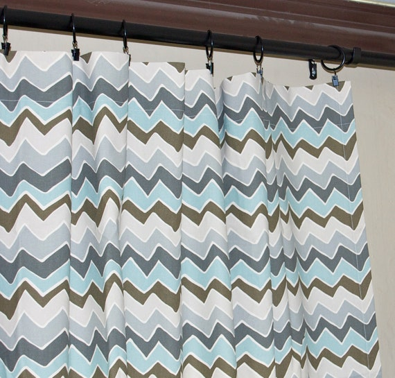 SALE Ready to Ship, Rod Pocket Curtains-Pair-See Saw Village Blue Natural