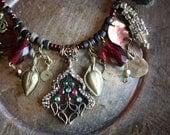 Turkish Assemblage Necklace- Grape Leaf- Ottoman Reproduction Pendant