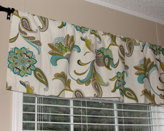 "Designer Covington Paisley Surf Valance 50"" wide x 16"" long Big Bold Flowers Lined Turquoise Blue Taupe Pea Green Floral"