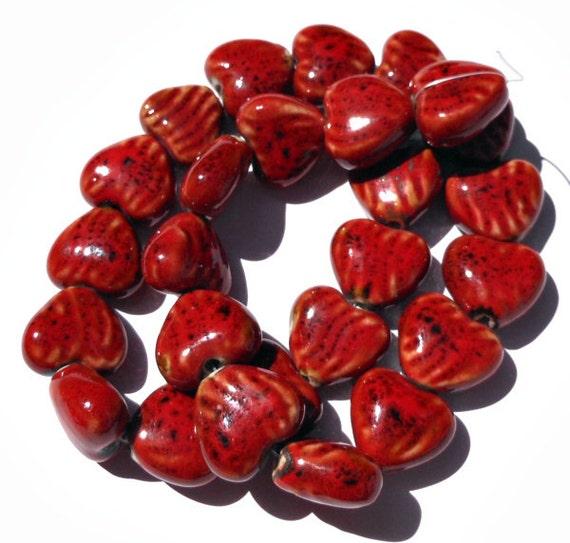 1 Strand Barn Red Porcelain Heart Shaped Beads