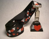 Black with Red Winged Hearts Ribbon and Matching PittyPottyBell
