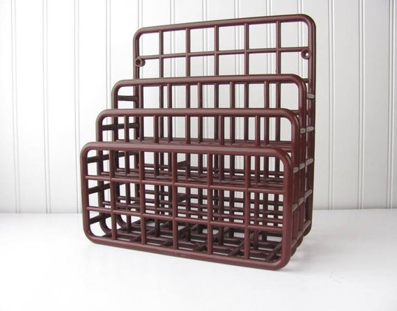 RESERVED 1980s Yaffa Catch All Mod Retro Plastic Holder Desk Organizer Brown