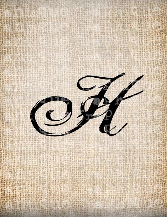 Items Similar To Antique Letter H Script Monogram Digital