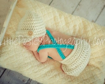 Crochet Baby Boy Newsboy Set with Suspenders and Bowtie, Photography Prop Set, Size Newborn and Infant – Aran & Turquoise