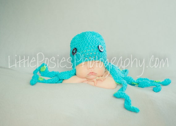 Crochet Octopus Baby Hat Beanie Photo Prop Boy Girl Made to Order