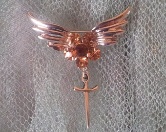 Half Price Sale Silver & Amber Yellow Wings Brooch with Dagger and Crystal Rhinestones Flower Goth Steampunk