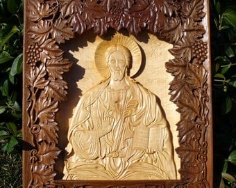 Jesus Christ, Art Wood Carving, Orthodox Christian, Religious Icon, Byzantine, Wood wall art, home iconostasis, wood sculpture, MariyaArts